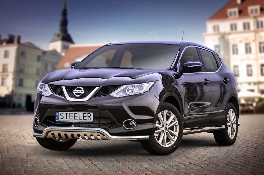 Frontspoiler  m/underkjørseksjon blekkplate, Ø 60mm, Nissan Qashqai mod. 2013->2017