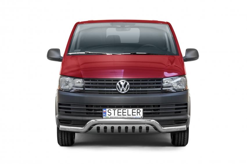 Frontspoiler Ø 76mm, m/underkjørseksjon (plate), VW T6 mod. 2015->