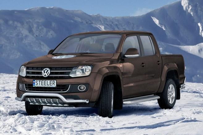 Frontspoiler  m/underkjørseksjon, rør, Ø 76mm, VW Amarok, mod. 2010->2016