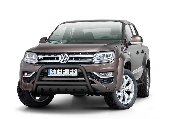 Sort EU-Kufanger  m/underkjørseksjon blekkplate, Ø 70mm, VW Amarok, mod. 2016->