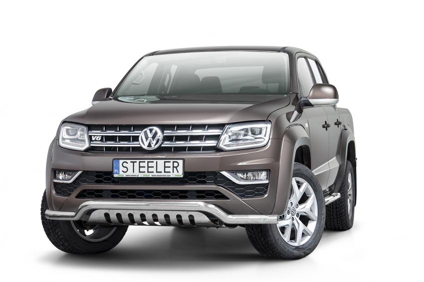Frontspoiler  m/underkjørseksjon blekkplate, Ø 70mm, VW Amarok mod. 2016->