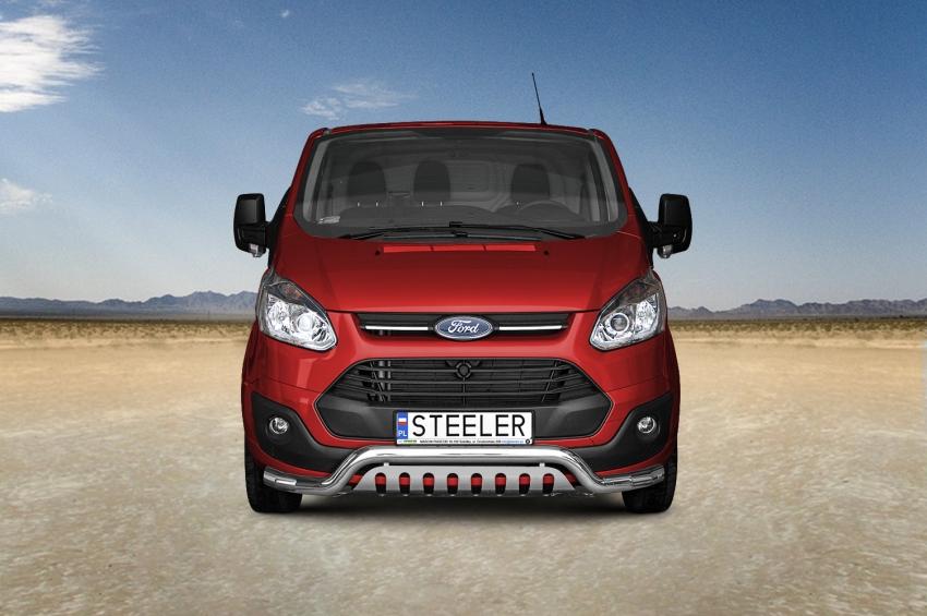 Frontspoiler m/underkjørseksjon blekkplate, Ø 70mm, Ford Transit Custom mod. 2012->2018