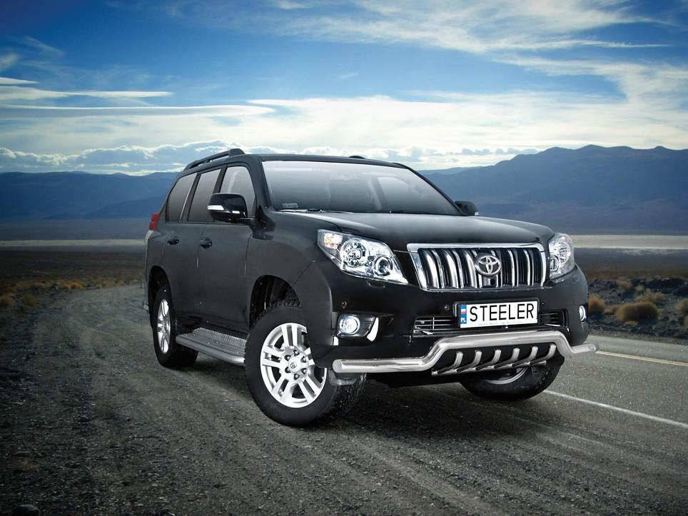 Spoilerrør, Ø 70mm, m/underkjørseksjon rør, Toyota LAND CRUISER 150, mod. 2010->2013