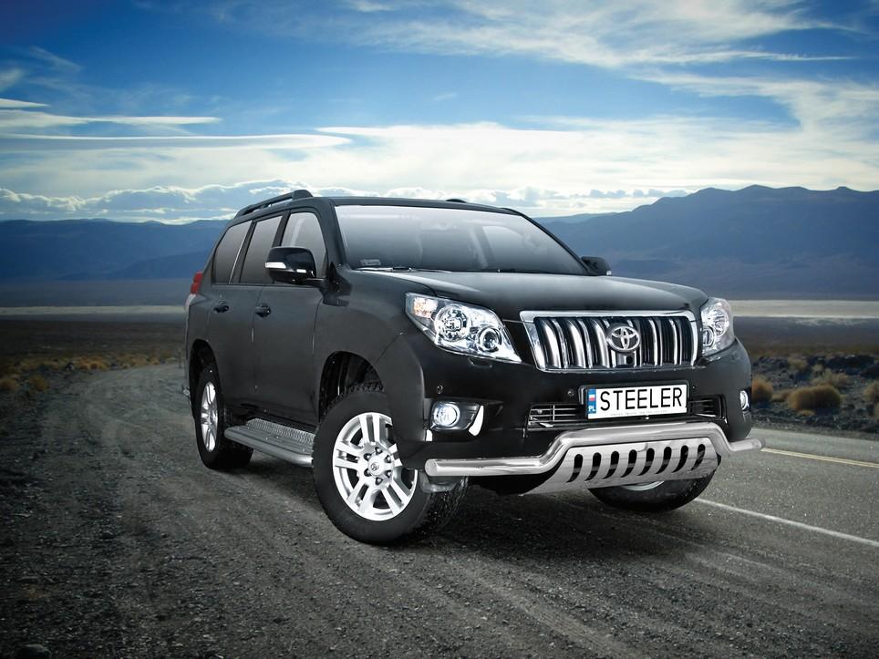 Spoilerrør, Ø 70mm, m/underkjørseksjon blekk, Toyota LAND CRUISER 150, mod. 2010->2013