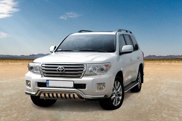 Frontspoiler Ø 76mm, m/underkjørseksjon (plate), Toyota LAND CRUISER V8, mod. 2012->2016