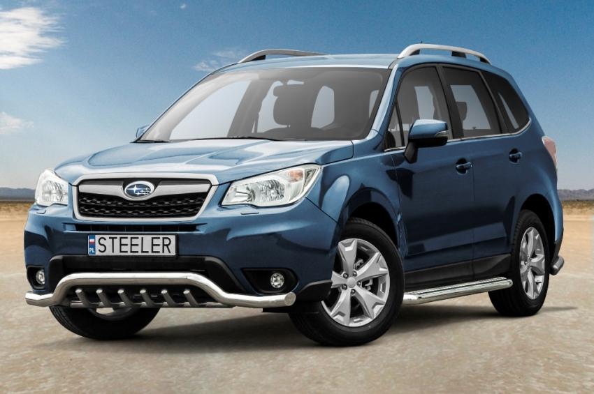 Frontspoiler m/underkjørseksjon, rør, Ø 70mm, Subaru Forester, mod. 2013->2016