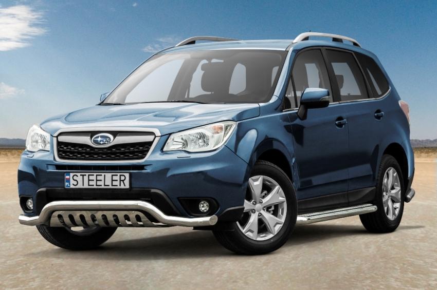 Frontspoiler m/underkjørseksjon blekkplate, Ø 70mm, Subaru Forester mod. 2013->2016