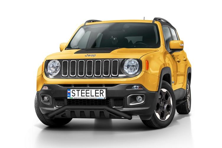 Sort spoilerrør Ø 60mm, m/underkjørseksjon (blekk), Jeep Renegade mod. 2014->2018