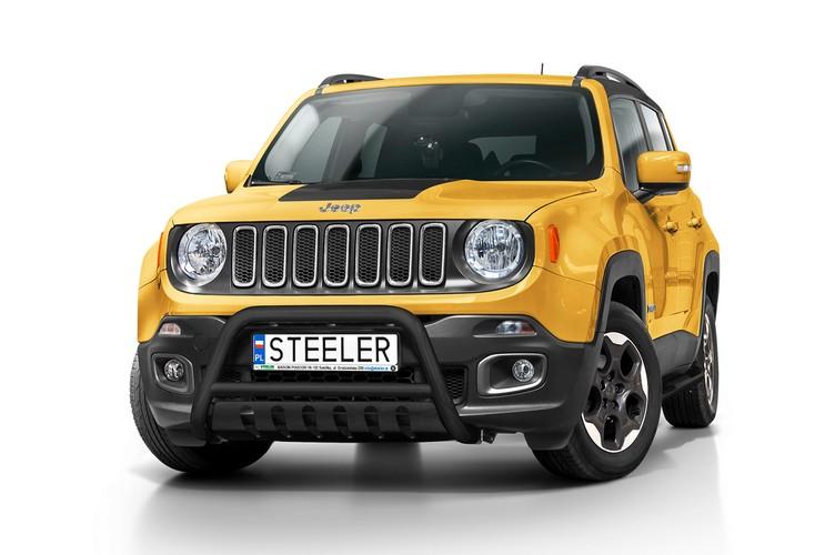 Sort EU-Kufanger Ø 60mm, m/underkjørseksjon (blekk), Jeep Renegade mod. 2014->2018