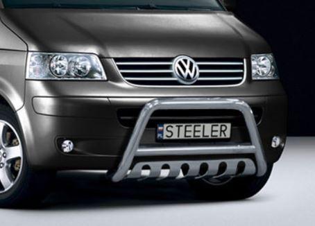 Sort EU-Kufanger Ø 70mm/Ø 60mm, underkjørseksjon (blekkplate), VW T5 mod. 2003->2010->2015