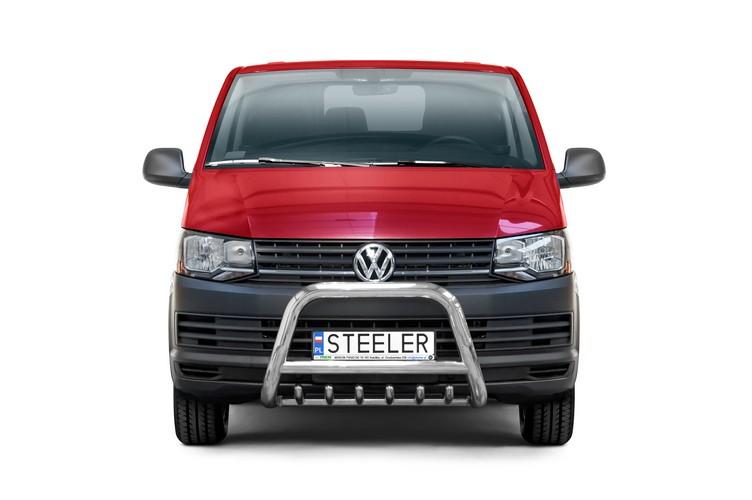 Sort EU-Kufanger Ø 70mm/Ø 60mm, underkjørseksjon(rør), VW T6 mod. 2015->