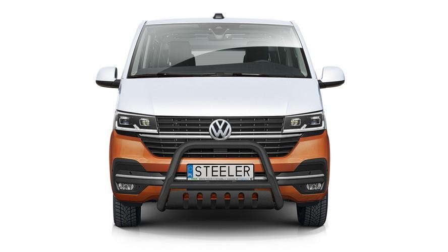 Sort EU-Kufanger Ø 70mm/Ø 60mm, underkjørseksjon (blekkplate), VW T6.1 mod. 2019->